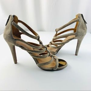 COACH Suede Caged Heeled Sandals